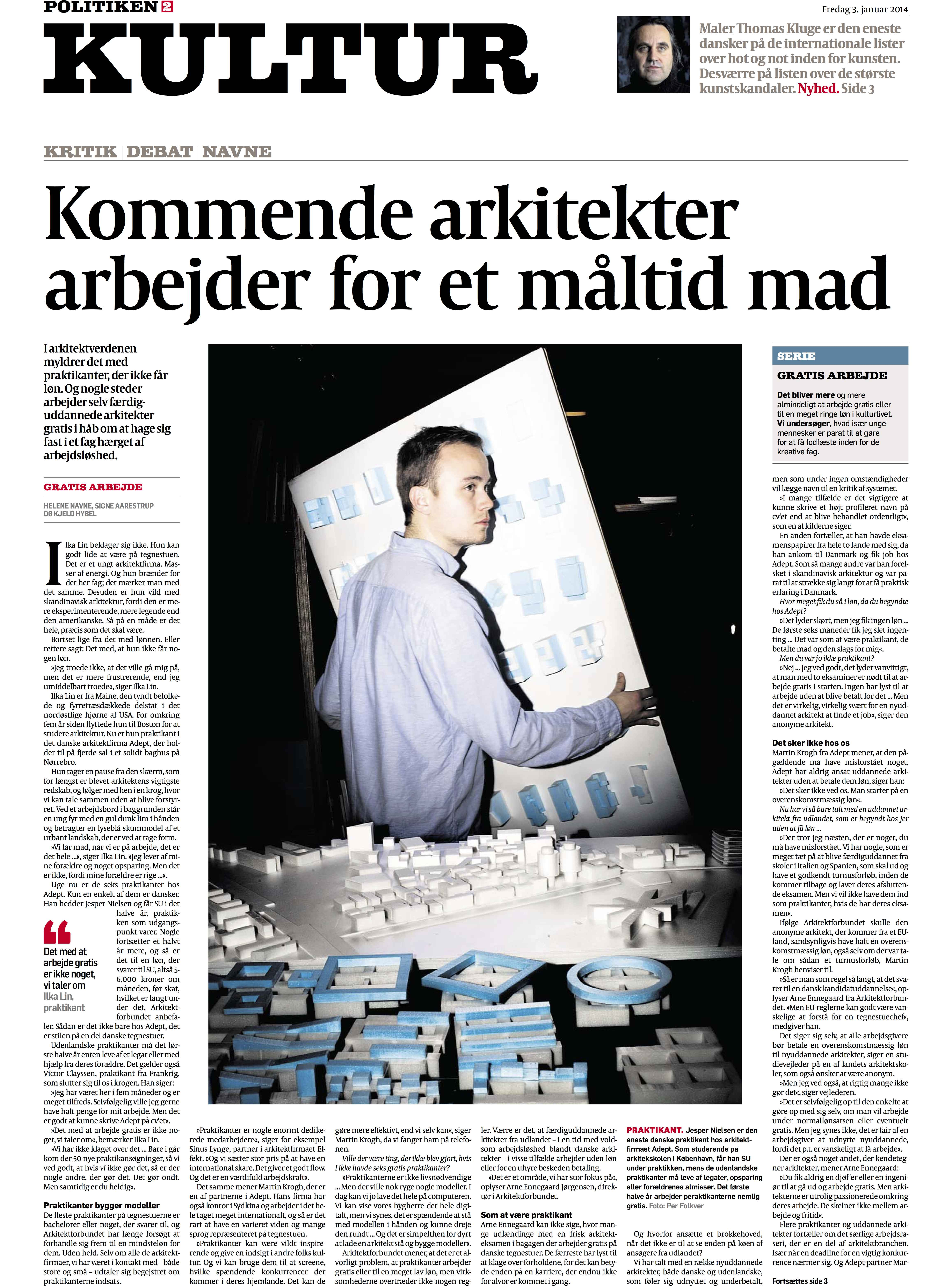 Politiken, Kultur s. 1 03.01.14